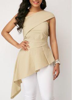 One Shoulder Bowknot Detail Asymmetric Hem Blouse Trendy Tops For Women, Blouses For Women, Stylish Tops, Blouse Styles, Blouse Designs, Ladies Dress Design, Fashion Dresses, Fashion Blouses, One Shoulder