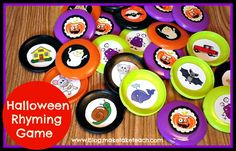 FREE rhyming stickers for you to create this Halloween-themed memory game.