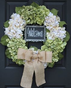 "Hydrangea Wreath - 22"" Creamy White & Green 5x7 CHALKBOARD - Burlap - Summer - Fall - Wedding -Holiday - Christmas Wreath - Year Round LARGE Write your own message greeting for the season on the Chalkboard"