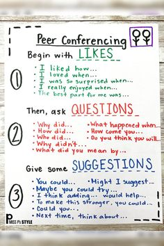 This helpful anchor chart is quick to make and provides sentence stems and a sequence for your students to have successful conversations with each other. Perfect for ESL kiddos or for building a routine with students beginning the conferencing process. Writing Lessons, Teaching Writing, Teaching Strategies, Teaching Tips, Math Lessons, Teaching Themes, Teaching Spanish, 5th Grade Writing, 6th Grade Ela
