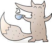 Lobo de historieta con una taza de café