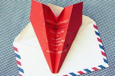 Paper plane party invitation.