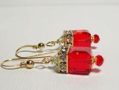 Swarovski Crystal Earrings. Red Crystal Earrings. 14K Gold Filled Swarovski Earrings. Dressy. Sparkly. Swarovski Dangle Earrings. Christmas. by VickieJoesJewels on Etsy
