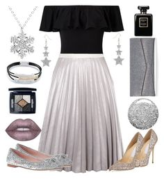 """""""silver shimmer"""" by styleability on Polyvore featuring Miss Selfridge, Topshop, Antipodium, Jimmy Choo, Kate Spade, Christian Dior, Lime Crime and Chanel"""