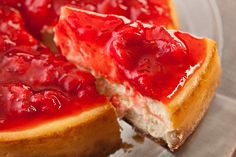 This amazing cheesecake recipe is made with cream cheese and a touch of lemon then covered with a fresh, sweet, chunky strawberry sauce.
