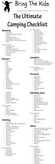 The Ultimate Family Camping Checklist - prob don't need everything, but it'll come in handy to make sure we're not forgetting something.