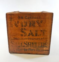 Antique Wood Ivory Salt Shipping Crate Box w/ by JabberwockySales