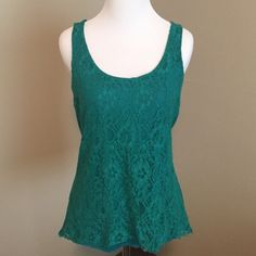 """Green lace tank Pretty lace tank. Has some pilling in armpit area - shown in photo. Not noticeable at all. """"Area"""" brand. Anthropologie Tops Tank Tops"""