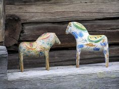 Antique hand carved and hand painted Dala Horses