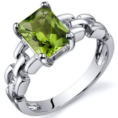 Chain Link Design 1.50 carats Peridot Engagement Sterling Silver Ring in Sizes 5 to 9 Style SR10550