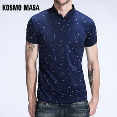e15c2656c7d7e KOSMO MASA Casual Slim Fit Polo Shirt Men Cotton Short Sleeve Collar Mens  Polo Shirts Summer