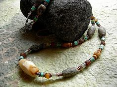 Long Earthy Necklace. Collector African Trade Beads by RoughSoul, $165.00