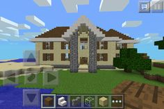 Mincraft house with farm in the back