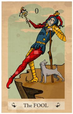 The fool tarot card, an image of the jester archetype