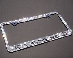 premium bling lexus white cap a type crystal diamond rhinestone metal chrome license plate frame by mosma