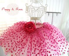 Pink tutu - use polka dot tulle on top and plain shades of tulle for bottom 2 layers
