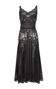 Chantilly Lace Godet Charmeuse Slip Dress by DOLCE & GABBANA for Preorder on Moda Operandi