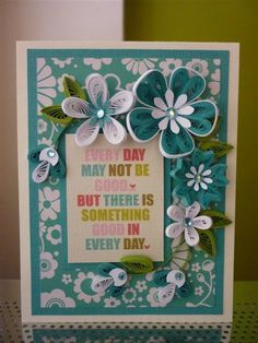Handmade Paper Quilled Turquoise White Greeting Card