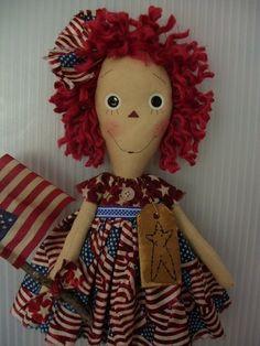 PRIMITIVE RAGGEDY ANN ~AMERICANA ANNIE~flag~18in~ #NaivePrimitive #klassygirlcreations
