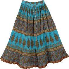 Blue Sand Crinkled Cotton Long Skirt