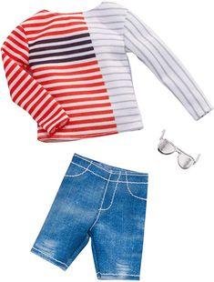 NEW 2019 KEN DOLL CLOTHES,FASHION PACK LONG SLEEVE SHIRT,SHORTS,SUNGLASSES