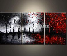 Hand Painted Oil Wall Art Abstract Black White And Red Paintings 3 Piece Modern Tree Canvas Picture Living Room Decoration Set-in Painting & Calligraphy from Home & Garden on Aliexpress.com | Alibaba Group