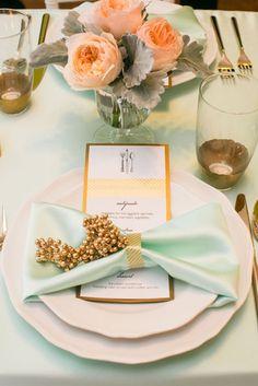 Beautiful mint tablescape