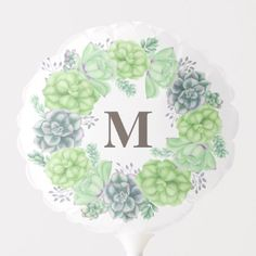Shop Elegant Succulent Wreath Monogram Balloon created by SparkleandGlitter. Baby Shower Ballons, Baby Shower Parties, Shower Party, Succulent Frame, Succulent Wreath, Photo Balloons, Letter Balloons, Baby Monogram, Monogram Wreath