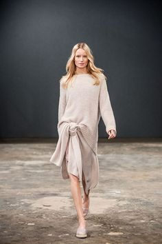 beige knit sweater over silky dress + sneaker - Marc O'Polo Fall / Winter 2015 Marc O Polo, Catwalk, Dresser, Personal Style, Bell Sleeve Top, Normcore, Beige, My Style, Lady
