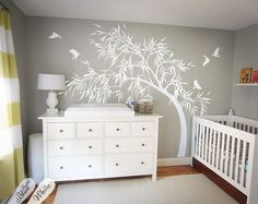 White nursery wall decals with birds, Wall tree tattoo, Baby room decoration, Large tree wall decals - House Ideas - Large Wall Decals, Nursery Wall Decals, Baby Nursery Decor, Nursery Room, Wall Stickers, Baby Room Diy, Baby Bedroom, Baby Rooms, Tree Bed
