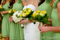 White, green, and yellow.  Wedding colors.