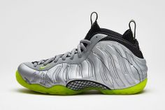26cc62699aa3d Nike Air Foamposite One Premium Metallic Silver Volt-Black  Nike s Air  Foamposite One - long a favorite canvas for the NSW design team and one  that has