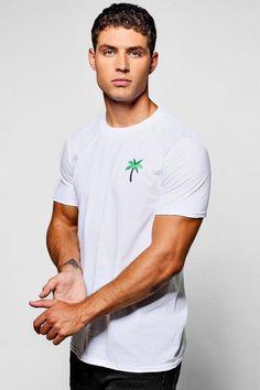 boohoo Palm Embroidered T-Shirt Desert Boots, Dream Team, Paisley Print, New Trends, Boohoo, Palm, Dressing, Mens Fashion, Skinny