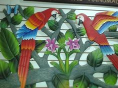 Lapas y orquideas Wall Murals, Stained Glass, Carving, Bird, Garden, Nature, Plants, Projects, Painting