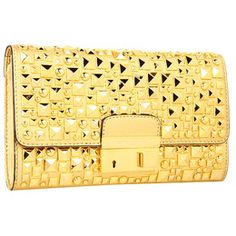 Fab and fun, this Michael Kors clutch adds some serious attitude to your style! ; Made of leather with multisize hardware studs. Top flap with logo-engraved slide-lock closure. Flat shoulder strap. Lined interior features a multifunction pocket. Made in Italy and Imported.