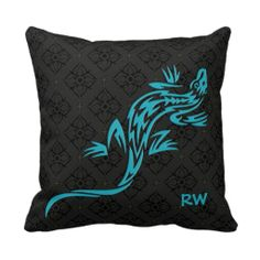 A lizard in a tribal style design in teal blue on a black and dark gray damask pattern background #lizards #tribal #damask