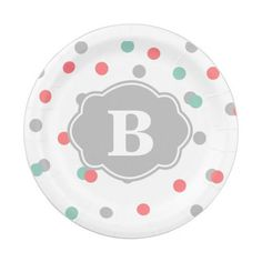 Grey Coral Teal Polka Dot Monogram Paper Plate