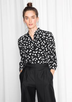 & Other Stories image 1 of Silk Shirt  in Polka Dot / Black