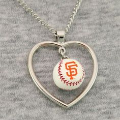 San Francisco Giants 3D Baseball Heart Pendant Necklace