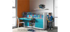 Dětská postel se zábranou a modrými detaily Kids Furniture, Lockers, Locker Storage, Loft, Desk, Turquoise, Cabinet, Home Decor, Platform Bed
