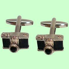 Bassin and Brown Cufflink Collection - Silver/Black Camera Cufflinks