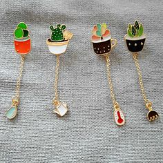 The new fashion Lovely green cactus Bonsai plants Enamel girl brooch free shipping new drip pin badge  clothes pins wholesale