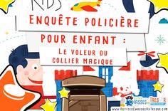 Enquête policière pour enfant sur le voleur de collier ! Un kit gratuit à imprimer pour enfant sur une enquête policière avec énigmes à faire à la maison.