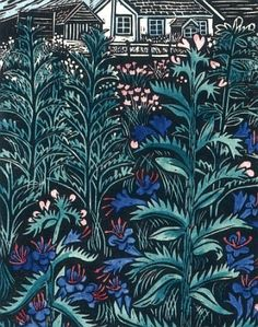 'Link Cottage' by Annie Soudain Linocut Prints, Art Prints, Cut Out Art, Flora Flowers, Garden Painting, Japanese Prints, Whimsical Art, Print Artist, Art Images