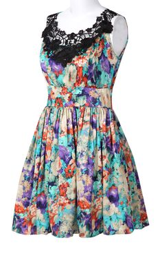 {Blue Floral w/ Black Lace Neckline Dress}