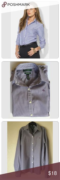 Ralph Lauren office career shirt. Petite. Cotton shirt, size Small petite, purple stripe, worn couple times, like new condition. Wrinkle free. 100% cotton. Lauren Ralph Lauren Tops Blouses