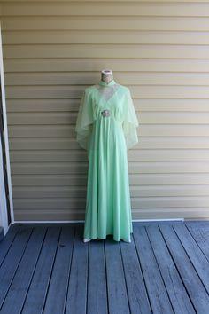 Vintage 70s Maxi Dress Goddess Boho Sheer Mint by RomantiqueTouch