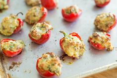 These Cherry Pepper Poppers are stuffed with a delicious herb & garlic cheese filling, then baked until bubbling and golden. This recipe is great finger food for parties and entertaining! Cherry Bomb Pepper, Cherry Pepper Recipes, Great Appetizers, Appetizer Recipes, Cheese Appetizers, Holiday Appetizers, Party Appetizers, Veggie Recipes, Cooking Recipes
