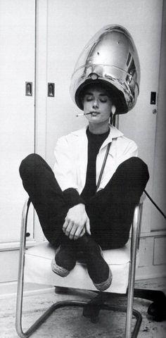 Audrey under the dryer.