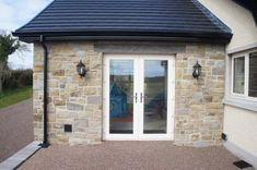 90% Tipperary Brown & 10% Tipperary Blue Sandstone - Coolestone Stone Importers Suppliers Masonry Tyrone Northern Ireland Stone Exterior Houses, Bungalow Exterior, Blue Granite, Double Front Doors, Stone Masonry, House Windows, House Extensions, Northern Ireland, Modern Design